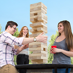 Classic Giant Wooden Blocks Tower Stacking Game, Outdoors Yard Game, For Adults, Kids, Boys and Girls by Hey! Play!