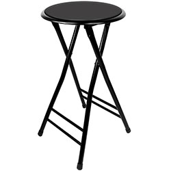 Folding Stool ? Heavy Duty 24-Inch Collapsible Padded Round Stool with 300 Pound Limit for Dorm, Rec or Gameroom by Trademark Home (Black, One Pair)