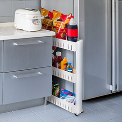Slim Storage Cart- 3 Tier Narrow Space Organizer on Wheels- Slide Out Shelving Rack for Laundry Room, Bathroom, Kitchen, Pantry & More by Lavish Home
