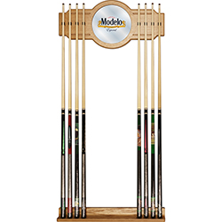 Modelo Stained Wood Cue Rack with Mirror