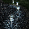 Pure Garden Stainless Steel Solar Powered LED Path Lights - Set of 4