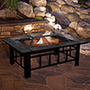 Fire Pit Set, Wood Burning Pit -Includes Screen, Cover and Log Poker- Great for Outdoor and Patio, 37? Marble Tile Rectangular Firepit by Pure Garden