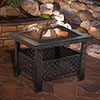 Fire Pit Set, Wood Burning Pit -Includes Screen, Cover and Log Poker- Great for Outdoor and Patio, 26 Inch? Woven Metal Square Firepit by Pure Garden