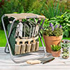 Garden Tool Set- Folding Stool with 250lb Capacity, Detachable 7 Pocket Bag for Organizing & 5 Gardening Tools-Comfortably Weed & Plant by Pure Garden