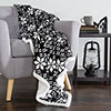 Lavish Home Fleece Sherpa Blanket Throw - Snow Flakes - Black/White