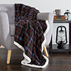 Lavish Home Fleece Sherpa Blanket Throw - Plaid Green/Red