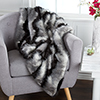 Lavish Home Luxury Long Haired Striped Faux Fur Throw - Black