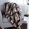 Lavish Home Luxury Long Haired Striped Faux Fur Throw - Brown