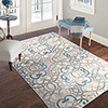 Lavish Home Vintage Interlocking Brocade Rug - Ivory Blue - 8' x 10'