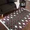 Lavish Home Chindi Trellis Accent Rug - 3.5x5 - Burgundy
