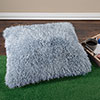 Oversized Floor or Throw Pillow Square Luxury Plush? Shag Faux Fur Glam D�cor Cushion for Bedroom Living Room or Dorm by Lavish Home (Blue)