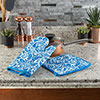 Oven Mitt And Pot Holder Set, Quilted And Flame And Heat Resistant By Lavish Home (Blue)