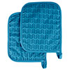 Pot Holder Set With Silicone Grip, Quilted And Heat Resistant (Set of 2) By Lavish Home (Blue)
