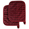 Pot Holder Set With Silicone Grip, Quilted And Heat Resistant (Set of 2) By Lavish Home (Burgundy)