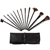 12 Piece Professional Makeup Brush Set- Includes Foundation Eyeshadow Eyeliner Eyebrow Concealer Lip Brushes by Bluestone- Black