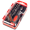 Ratcheting Screwdriver with 37 Piece Bit Set - Stubby Handle Multitool with Metric and SAE Measurements for Interchangeable Bits by Stalwart