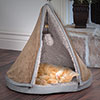 PETMAKER Sleep & Play Cat Bed Removable Teepee Top -18 inch dia Tan