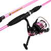 Fishing Rod and Reel Combo, Spinning Reel Fishing Pole, Fishing Gear for Bass and Trout Fishing, Pink ? Lake Fishing, Strike Series by Wakeman
