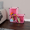 Storage Organizer Cube- 3 Cube Multipurpose Storage Shelf Bins for Toys School Supplies Sport Equipment Clothes and Books By Everyday Home- Pink