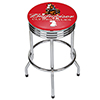 Budweiser Chrome Ribbed Bar Stool - Clydesdale Red