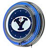 Brigham Young University Chrome Double Rung Neon Clock