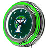 Tulane University Chrome Double Rung Neon Clock