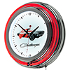 Dodge Chrome Double Rung Neon Clock - Challenger Stripe 2