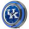 University of Kentucky Chrome Double Rung Neon Clock - Reflection