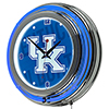 University of Kentucky Chrome Double Rung Neon Clock - Wordmark
