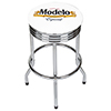 Modelo Chrome Ribbed Bar Stool