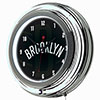 NBA Chrome Double Rung Neon Clock - Fade  - Brooklyn Nets