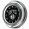 NBA Chrome Double Rung Neon Clock - City  - Brooklyn Nets