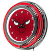 NBA Chrome Double Rung Neon Clock - City  - Chicago Bulls