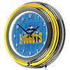 NBA Chrome Double Rung Neon Clock - City  - Denver Nuggets