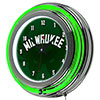 NBA Chrome Double Rung Neon Clock - Fade  - Milwaukee Bucks