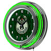 NBA Chrome Double Rung Neon Clock - City  - Milwaukee Bucks
