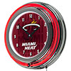 NBA Chrome Double Rung Neon Clock - City  - Miami Heat