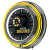 NHL Chrome Double Rung Neon Clock - Watermark - Boston Bruins�