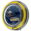 NHL Chrome Double Rung Neon Clock - Watermark - Buffalo Sabres�