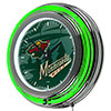 NHL Chrome Double Rung Neon Clock - Watermark - Minnesota Wild�