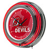 NHL Chrome Double Rung Neon Clock - Watermark - New Jersey Devils�
