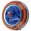 NHL Chrome Double Rung Neon Clock - Watermark - New York Islanders�