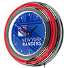 NHL Chrome Double Rung Neon Clock - Watermark - New York Rangers�