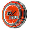 NHL Chrome Double Rung Neon Clock - Watermark - Philadelphia Flyers�