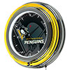 NHL Chrome Double Rung Neon Clock - Watermark - Pittsburgh Penguins�