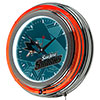 NHL Chrome Double Rung Neon Clock - Watermark - San Jose Sharks�