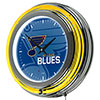 NHL Chrome Double Rung Neon Clock - Watermark - St. Louis Blues�