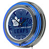 NHL Chrome Double Rung Neon Clock - Watermark - Toronto Maple Leafs�
