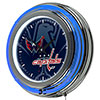 NHL Chrome Double Rung Neon Clock - Watermark - Washington Capitals�