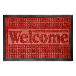 Welcome Mat- Nonslip Rubber Modern Design - Red 17.5 x 29) Image